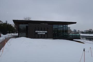 富岩運河環水公園の雪景色(1)