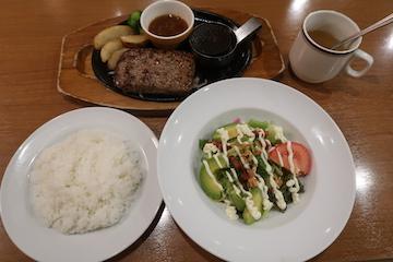 ビーフハンバーグステーキ、フレッシュアボガドのサラダ