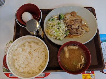 豚生姜焼き朝食(1)