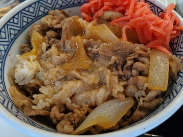 ランチセット(牛丼と生卵)