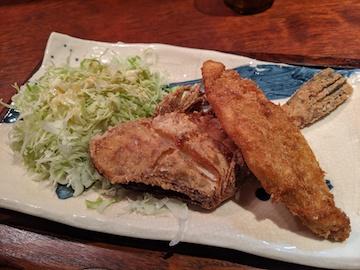 カワハギの唐揚げと白身フライ定食(3)