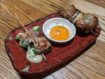 ピーマンチーズ巻き、卵の黄身、すきやき串